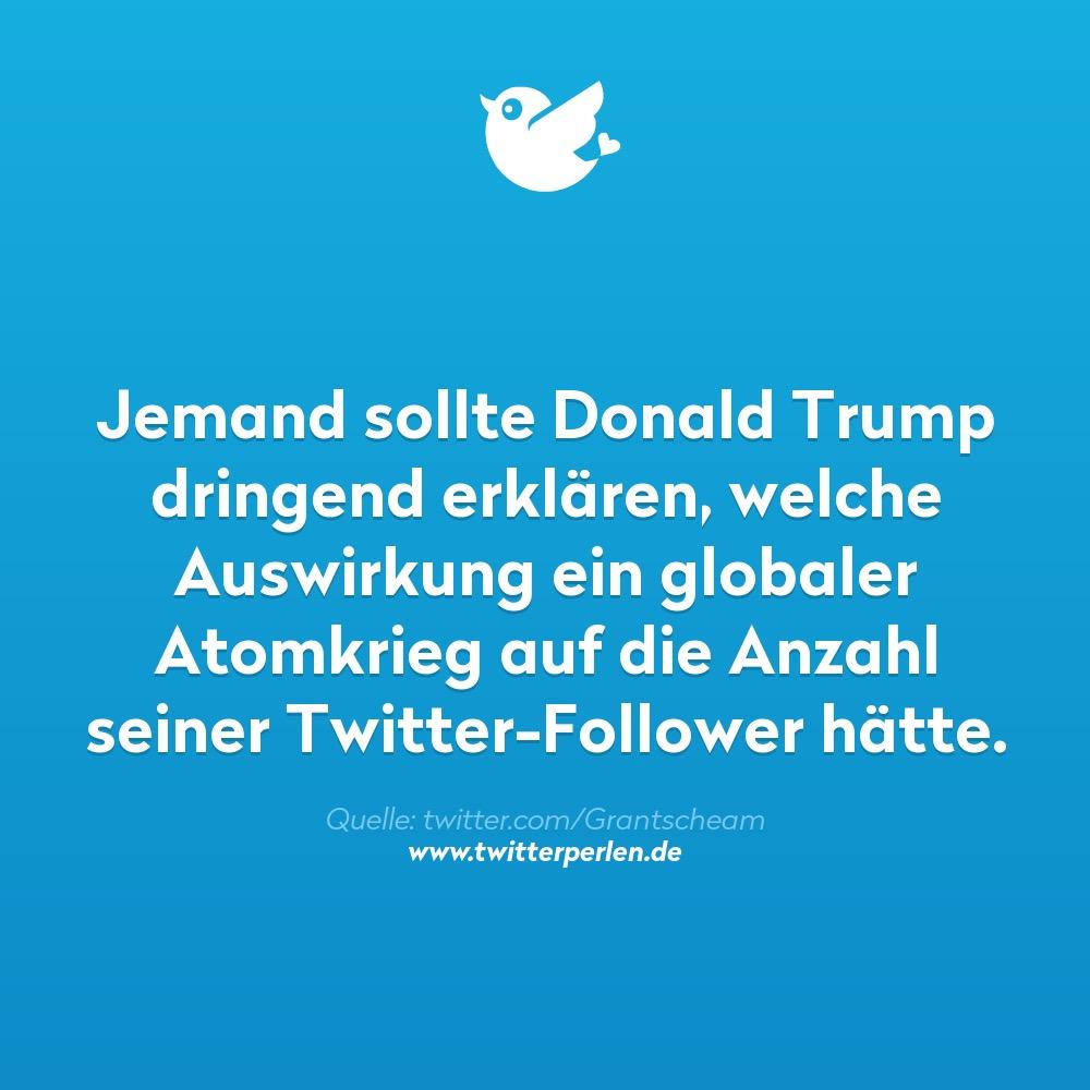 Jemand sollte Donald Trump dringend erklären, welche Auswirkung ein globaler Atomkrieg auf die Anzahl seiner Twitter-Follower hätte.