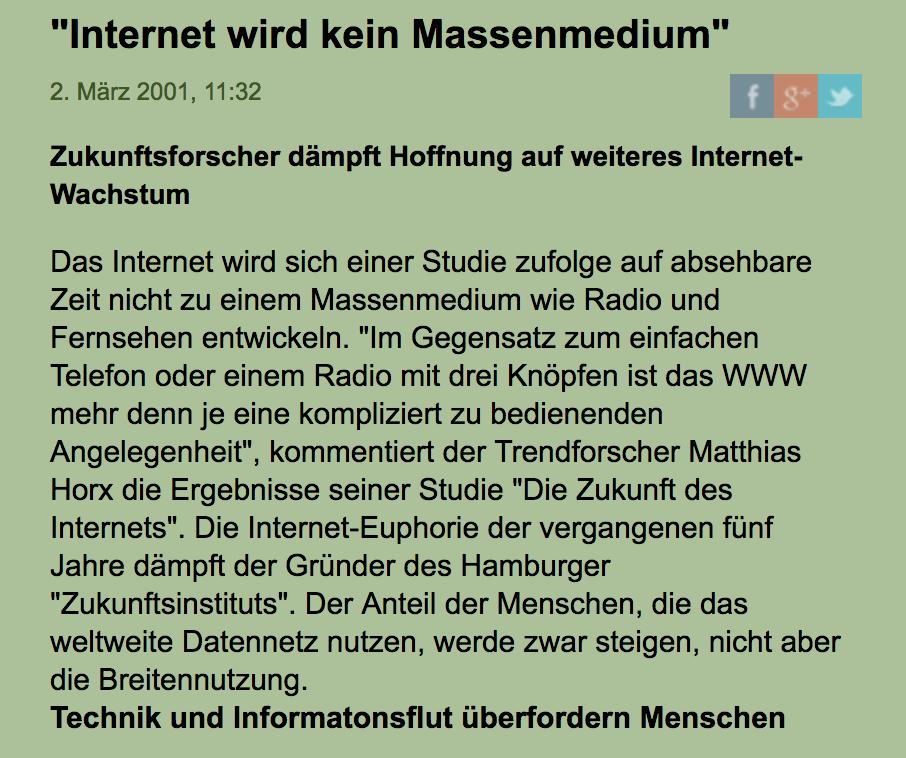 """""""Internet wird kein Massenmedium"""""""