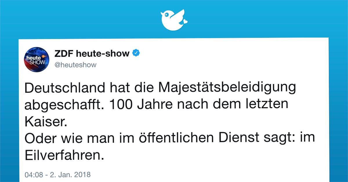 Deutschland hat die Majestätsbeleidigung abgeschafft.