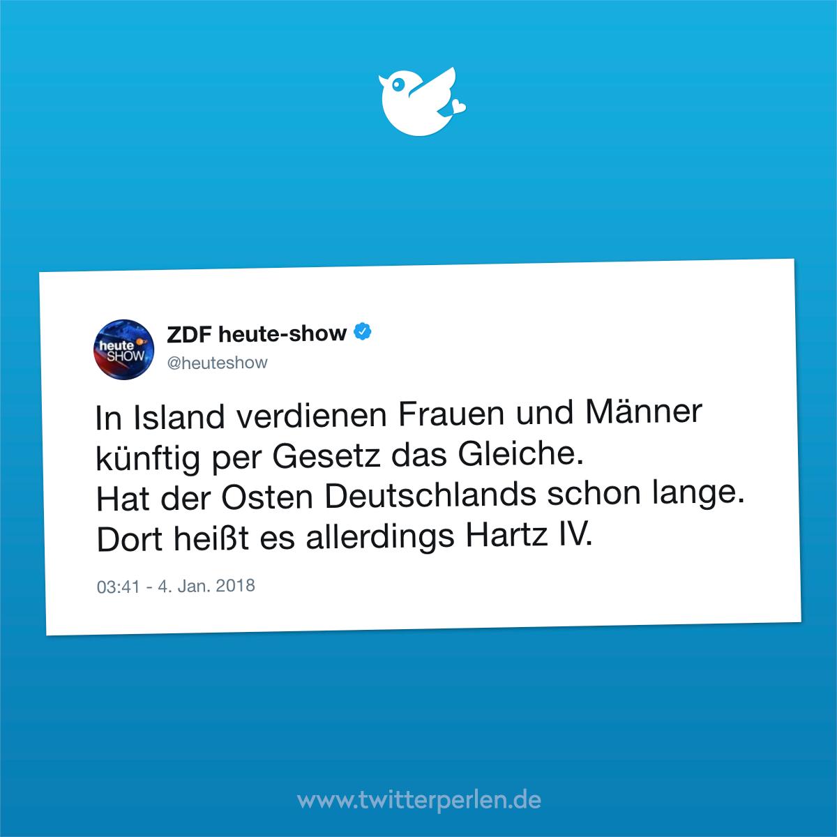 In Island verdienen Frauen und Männer künftig per Gesetz das Gleiche. Hat der Osten Deutschlands schon lange. Dort heißt es allerdings Hartz IV.