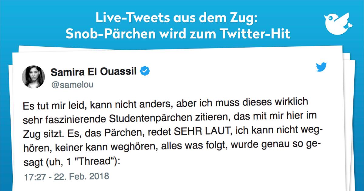 Live-Tweets aus dem Zug: Snob-Pärchen wird zum Twitter-Hit