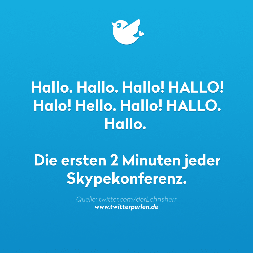 Hallo. Hallo. Hallo! HALLO! Halo! Hello. Hallo! HALLO. Hallo. Die ersten 2 Minuten jeder Skypekonferenz.