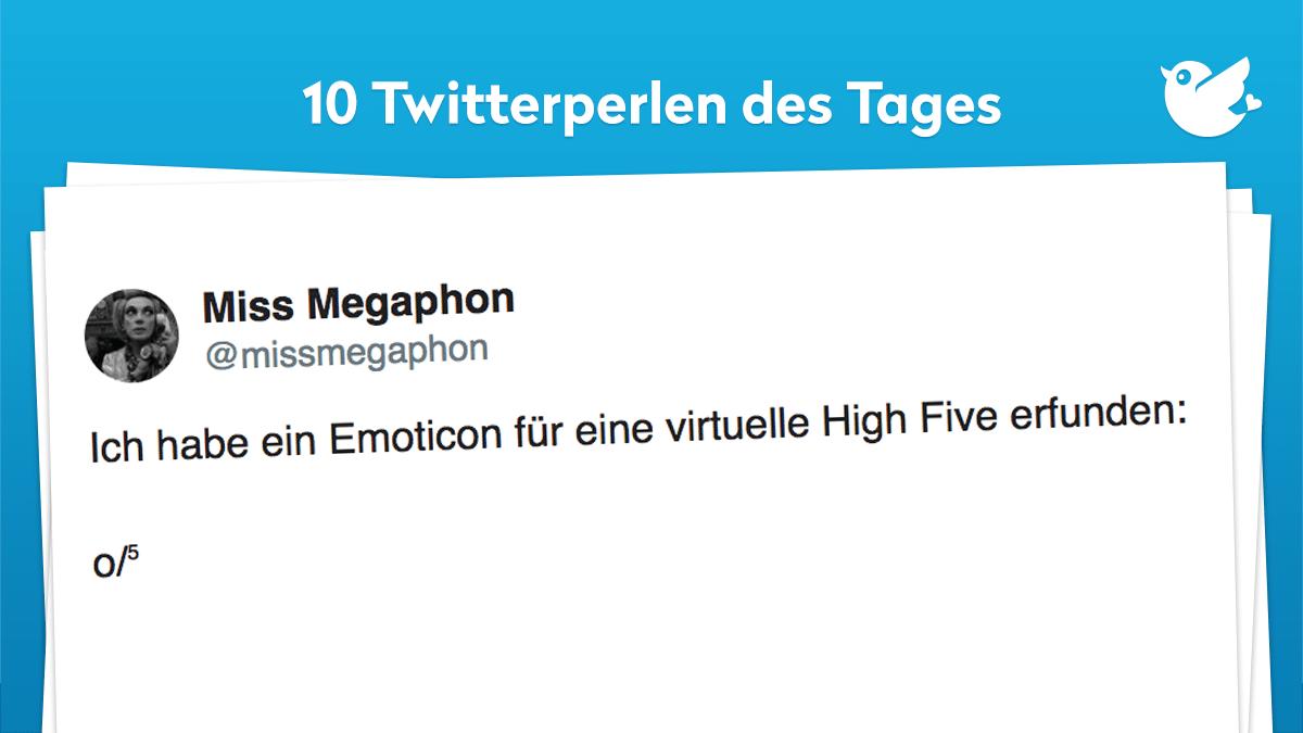 Ich habe ein Emoticon für eine virtuelle High Five erfunden: o/⁵